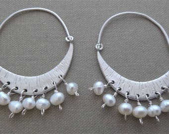 White and silver earrings white pearl earrings chandelier earrings pearl chandelier earrings silver crescent moon pearl earrings handmade