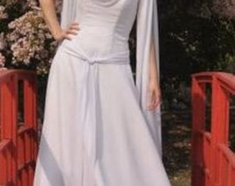 Celtic Wedding Dress with Chiffon Long Sleeves Bridal Gown