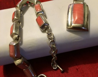 925 Silver Jewelry set with gemstone overlay, bracelet and pendant