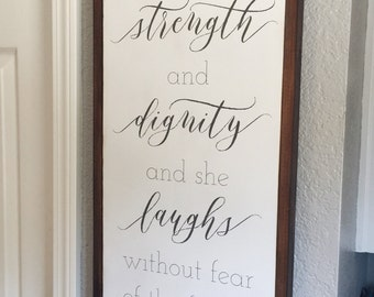 She is clothed in strength and dignity, Framed Wood Sign, Scripture Sign, Proverbs, Nursery, Baby Girl, Inspirational, Baby Shower Gift