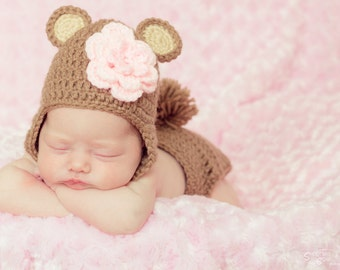 Newborn Bear Hat and Diaper Cover Photo Prop Set for Boys or Girls