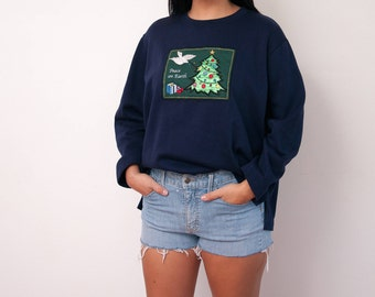 Vintage Ugly Christmas Sweater - Peace on Earth - Christmas Tree, Presents, and Dove - Size X Large - Tacky Xmas Sweater - Gift For Her