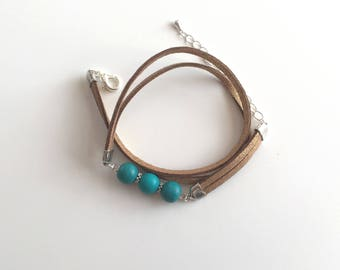 Bracelet 2 strings suede double turn brown and turquoise