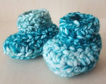 Marbled blue and white baby booties size 12-18 months