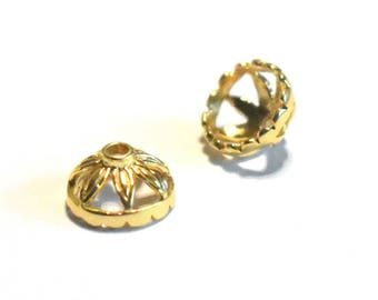 Bali Vermeil Bead Caps 9mm by 5mm set of two