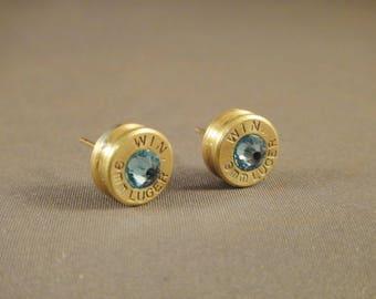 Bullet Earrings with Aquamarine Crystal