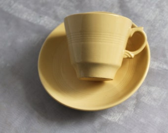 Woods Ware Jasmine Yellow Cup and Saucer.  Yellow Utility Ware 1940s. Post War Collectable. 5 Available