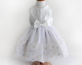 Toddler Girl White with Gold Lace Satin and Tulle Party Dress - Sz 2 - Handmade Ready to Ship