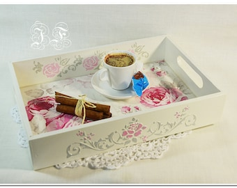 Shabby Rose wood tray Gift for her Wood Serving tray Birthday gift Wooden tee tray Home decor Original Kitchen serving tray Serving table