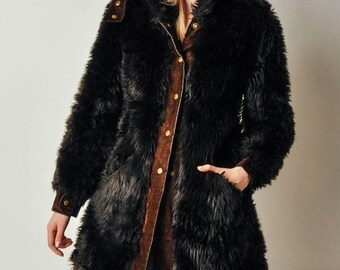 ON SALE - Vintage French Faux Fur Coat