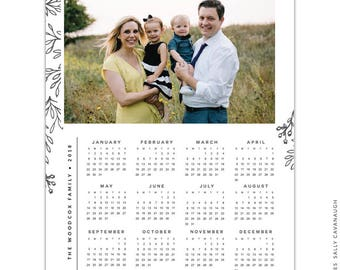 INSTANT DOWNLOAD - 8x10 Calendar template 2018 - E1432
