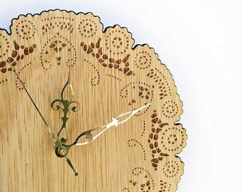 wood doily clock