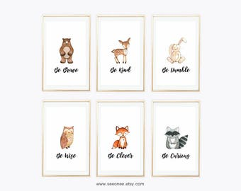 3x5 INSTANT DOWNLOAD Woodland animals nursery art printable, Set of 6 forest animals wall art print digital file, be kind be curious poster