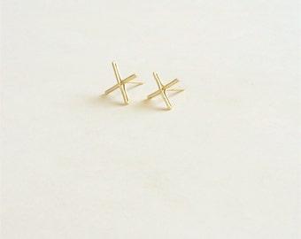 14k Gold 11mm X Stud Earring Solid Sterling Silver Gold Filled Rose Gold Filled Earrings X Bar earrings bar jewelry minimalist alphabet 028