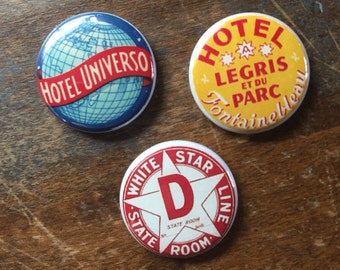 Vintage Hotels Pinback Buttons set of 6