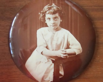 Little Girl Lost - Large 1890's Celluloid Photo Mourning Pinback Button - Adorable Little Girl - Free Shipping
