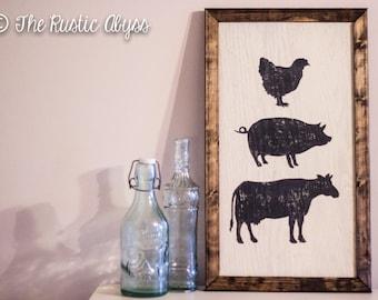 Farmhouse Wood Sign, Chicken Pig Cow Farm Animals, Reclaimed Wood Sign, Farmhouse Decor