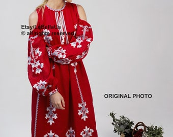 Folk dress Vyshyvanka Embroidered dress Ethno caftan Boho style Linen dress with cut shoulders line