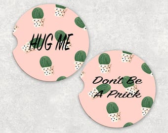 Custom Sandstone Pink Cactus  Car Coasters (set of2), Sandstone Personalized Car Coasters (set of2) Gift Ideas