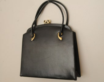 Vintage Black Purse Gold