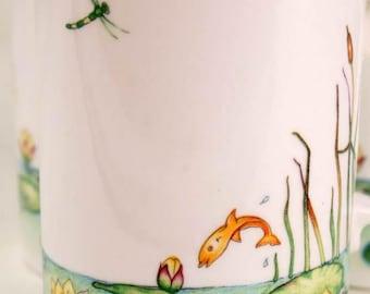 Vintage Arts & Crafts Design Dragonflies Fish Dunoon Ceramics 3 Tea Mugs England