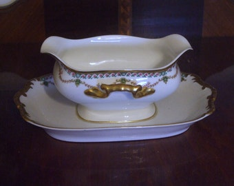 Vintage Vignaud Limoges France Porcelain Gravy Boat with Attached Underplate Pattern  VIG14 Circa 1930