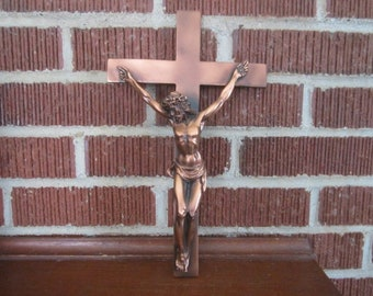 Vintage Beautifully Detailed Hanging Copper Crucifix for Christian Wall Decor