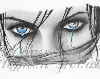 "Giclee fine art print from original ""Facade Unveiled"" pencil drawing, portrait drawings, beautiful woman, eyes, blue eyes, face, custom"