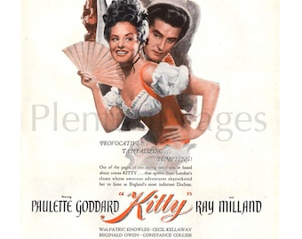 """1946 """"Kitty"""" Vintage Movie Ad, Paulette Goddard, Ray Milland, 1940's Movie, Advertising Art, 1940's Paramount Pictures, Great to Frame."""