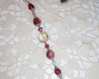 Red and Clear Crystal & Pearl Scissor Fob - Bells Motif - Hand-made Jewelry for your scissors