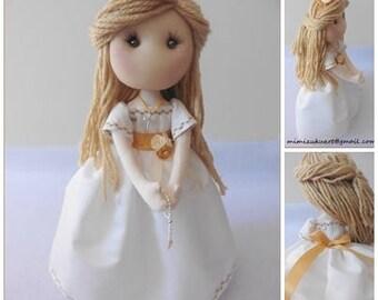 Muñeca soft de comunión, soft doll, textile doll, decorative doll, handmade doll, mimizuku art