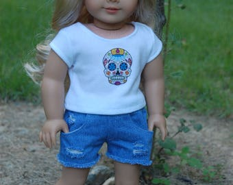 SALE-2 piece outfit-fits American Girl Doll clothes/18 inch doll clothes//denim distressed shorts/doll shirt/doll shorts/Skull Candy