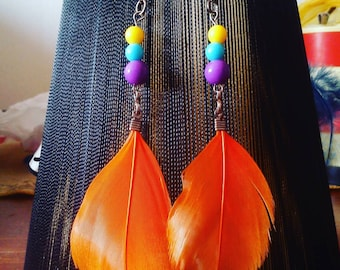 Orange feather earrings