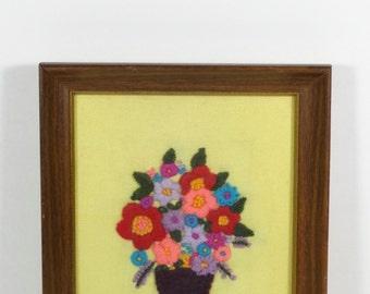 Crewel Embroidery Flower Basket - Framed Vintage Embroidery - Crewel Work