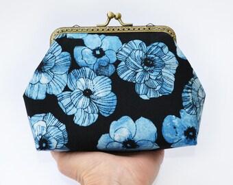 Blue flower metal frame purse Floral makeup bag Toiletry travel bag Makeup clutch Travel toiletry case Clasp purse Kisslock purse Women gift