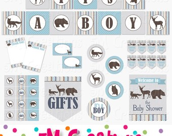 Woodland Baby Shower Decorations - Foerst Animal Party Package - Fox Deer Bear Banner Cupcake Toppers - Digital Package - INSTANT DOWNLOAD