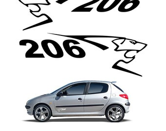 Set of 2 stickers stickers Peugeot 206