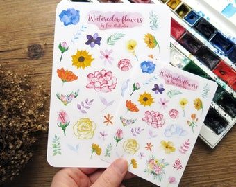 Flower Stickers // Watercolor Flowers // Planner Stickers // White Stickers // Floral Stickers