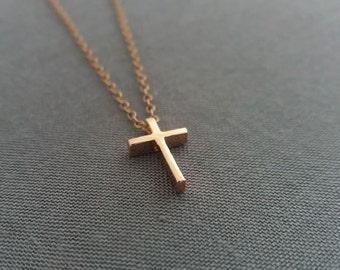Cross Necklace, Rose Gold Cross Necklace, Tiny Cross Pendant,  Small Rose Gold Cross, Dainty Delicate Everyday Minimalist