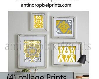 Ikat Art Wall Gallery Digital Print  Mustard Yellow (Citron) Grey  -Set of (4) Wall Art Prints -  11x14, 8x10, 5x7, 4x6 (UNFRAMED)