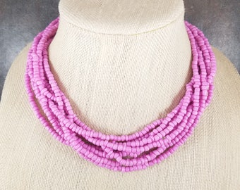 Seed Bead Necklace, Statement Necklace, Pink, Mauve, Multistrand Necklace, Mauve, Chunky Necklace, Beaded Necklace, Pink Bead Necklace