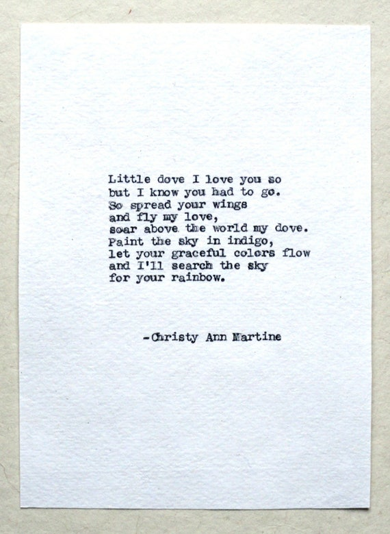 Sympathy Gift for Loss of Baby or Child - Miscarriage Gift - Comforting Little Dove Poem Hand Typed by Poet