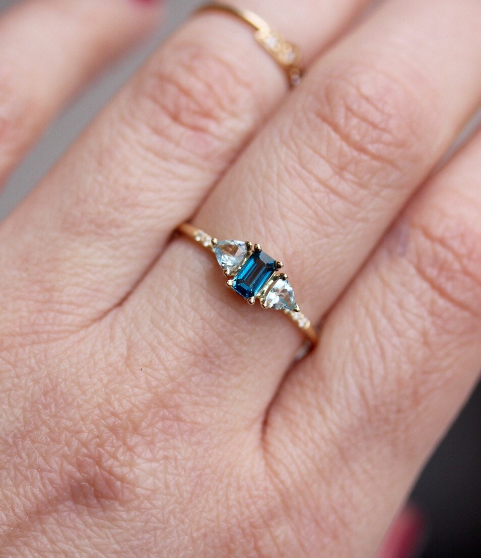 14K London Blue Topaz and Aquamarine Ocean Ring