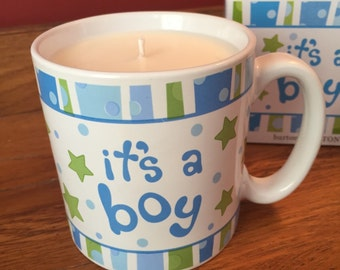 """It""""s A Boy Mug Soy Candle! Burton & Burton Ceramic Mug with Hand Poured Soy Candle, Baby Powder Scent or Your Choice in Matching Gift Box"""