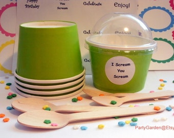 50 Lime Green Ice Cream Cups - Small 8 oz