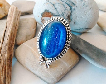 Blue Goldstone Adjustable Oval Ring Cocktail Rings Large Chunky Ring Teen Gift Feminine Romantic Girlfriend Gift Birthday Gift One of a Kind