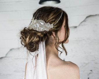 Statement Crystal Headband, Bridal Headpiece, White Wedding Halo, Bridal Hair Accessories, Wedding Headbands, Great Gatsby 1920s Hair Piece