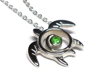Green Garnet Sea Turtle Necklace - Tsavorite Garnet Turtle Pedant - January Birthstone - Turtle Totem Sterling Silver - Sea Life