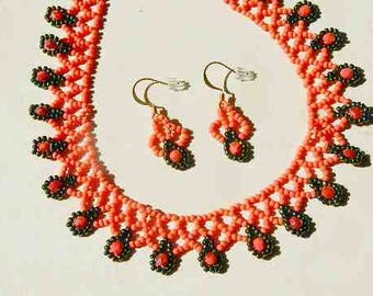 Coral Pink and Emerald Green Seed Bead Hand Sewn Necklace and Matching Earrings