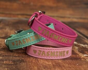 Custom Name Dog Collar  - Designer Name Dog Collar - Engraved Name Dog Collar - Color Dog Collar with Name - Colored Dog Collar